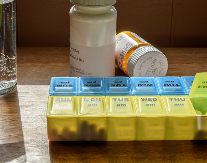 pill holder and medications