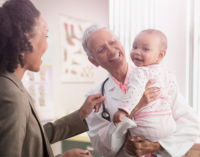 Mother, baby and doctor